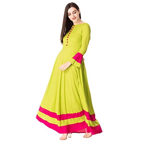 Vansham Women's Rayon Parrot Full Bell Sleeves Anarkali Flared Casual Long Kurti - (X-Large)