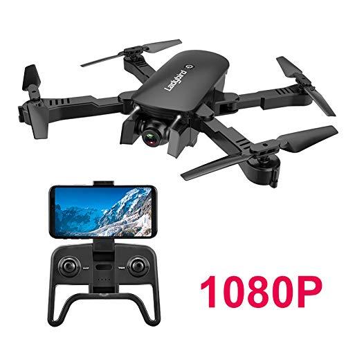 Adsvtech Drone WiFi FPV RC con Doppia videocamera HD 1080 per quadricoptero Pieghevole per Principianti, Bellezza Automatica, Fotografia gestuale, Volo traiettoria Nero