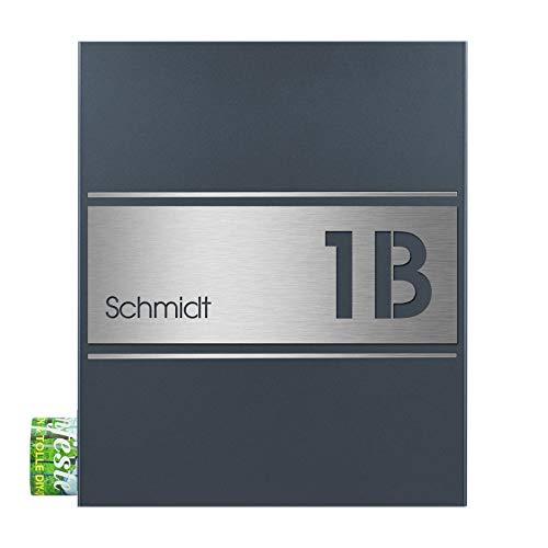 Briefkasten mit Name und Hausnummer graviert MOCAVI Box 141 V4A-Edelstahl/anthrazit RAL 7016 Zeitungsfach inkl. Gravur