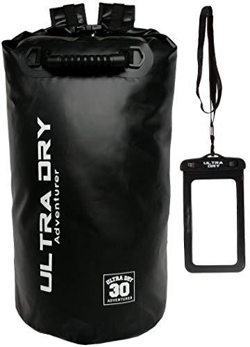 Premium Wasserdichte Tasche, Sack mit Handy-Trockentasche und langem, verstellbarem Schultergurt, ideal für Kajakfahren/ Bootfahren/ Kanufahren / Rafting / Schwimmen / Camping (Schwarz, 30 Liter)