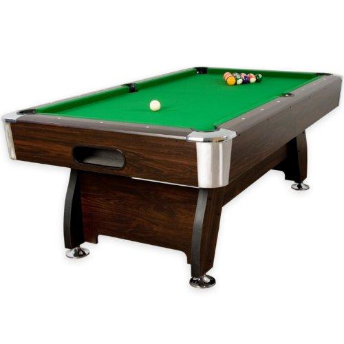 """Maxstore 7 ft Billardtisch Premium\"""" + Zubehör, 9 Farbvarianten, 214x122x82 cm (LxBxH), Dunkles Holzdekor, grünes Tuch"""