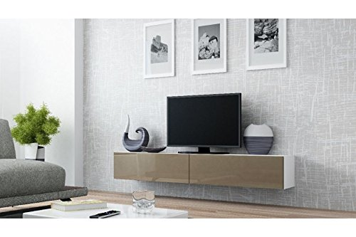 Chloédesign Vito Mobile per TV, Legno, Bianco e Tortora, unica