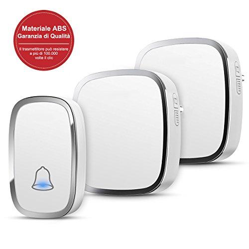 YYQ Campanello Senza Fili da Esterno Impermeabile IP44, Wireless Doorbell con Raggio d'Azione...