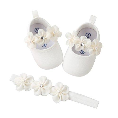 2 Pezzi Neonata Scarpe + Fascia, Bambino Fiore Scarpe Anti Scivolo Morbido Occasioni Speciali Battesimo per la Festa Nuziale Scarpe (0-6 Mesi, Bianco)