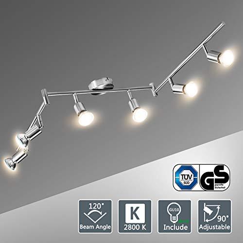 Lampadario da Soffitto, Bojim Faretti LED da Soffitto Orientabili con 6 Luci GU10 Bianco Caldo 2800K...