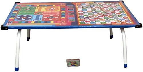 Vinayak Creations Tanishka Wooden Ludo, Snakes and Ladders Printed Foldable Study Table (Multicolour)