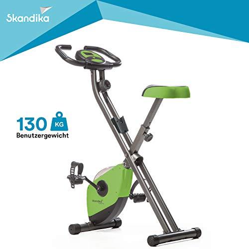 Skandika Foldaway X-1000 - Vélo appartement en X pliable - 8 niveaux de resistance - Jusqu'à 110 KG (Vert)