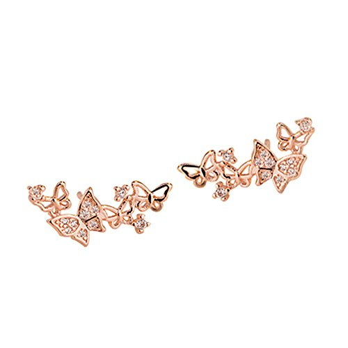 Onefeart Oro de Rose Plateado Aretes Hueco Mariposa para Mujeres Blanco Circonita 10x20MM Oro Rosa