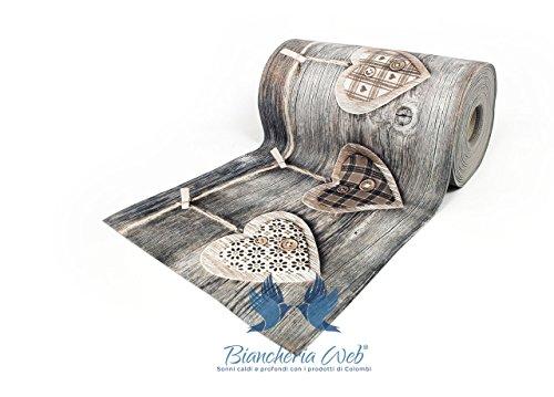 BIANCHERIAWEB Tappeto Passatoia Antiscivolo con Stampa Digitale Disegno Cuori Appesi 50x180 Cuori...