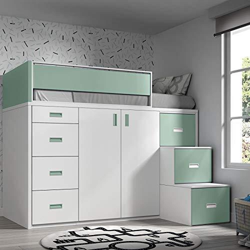 Möbel ROS Hochbett mit Schrank und Schubladen, 165 x 204 x 165 cm