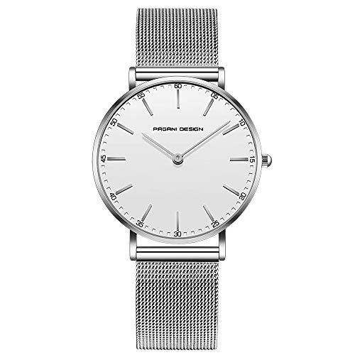 Pagani Design Uhr für Damen Edelstahl wasserdichte Uhr Damenuhr mit analogem Quarz PD-1801L-Weißes Zifferblatt