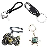 Taslar Car and Bike Key Chains Key Ring Contains Metal Compass, Chrome Plated Bike Key Chain, Combo Of 4