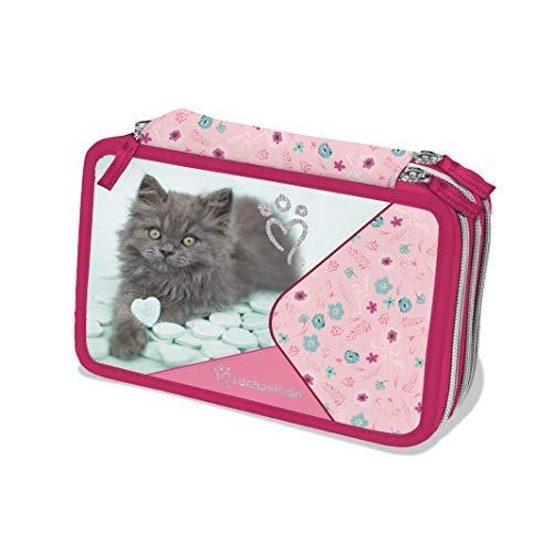 Astuccio attrezzato rosa 3 cerniere Rachael Hale - gatto Toby