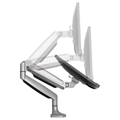"Rife Elegant Aluminium Monitor Stand Gas Spring Desk Full Motion Swivel LED LCD Arm Mount for 13""-32"" Computer Monitor TV Screens (Silver)"