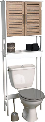 Mueble para baño WC - 2 puertas y 1 estante - Aspecto Roble envejecido