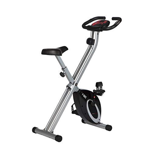 Ultrasport F-Bike, Fahrradtrainer, Heimtrainer, faltbares Fitnessfahrrad mit Trainingscomputer und Handpulssensoren, klappbar, Schwarz