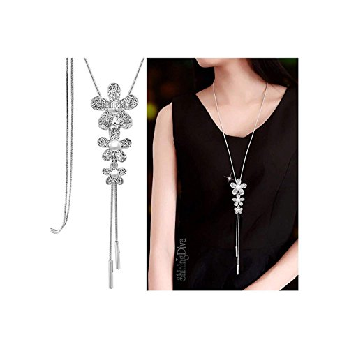 Shining Diva Fashion Jewellery Stylish Pendants for Girls with Long Chain Pendent Party Western Wear Necklace for Women & Girls(Silver)(9269np)