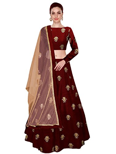 Shree Impex Women's Embroidered Taffeta Silk Semi-Stitched Lehanga Choli (All over 2, Maroon, Free Size)