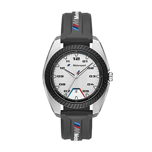BMW - Orologio da uomo M Motorsport in acciaio inossidabile al quarzo con cinturino in silicone,...