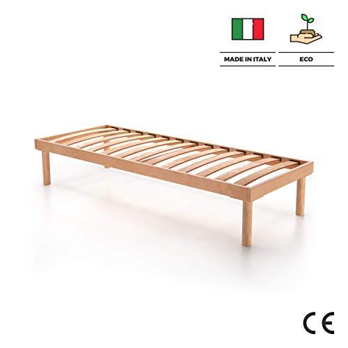Mobili Fiver, Rete a doghe in Legno Singola 80X190 Altezza Totale 36 cm, Multistrato di Faggio, Made...