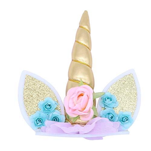 Oro Unicorno Cake Topper Matrimonio/Toppers Torta/Decorazioni Torte, Corno di unicorno, set di orecchie e fiori, Decorazione unicorno per baby shower, matrimonio e festa di compleanno