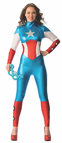 Rubies 'S Oficial Mujer Marvel Miss American Dream Captain Amercia Catsuit Adultos' s Costume – Extra Pequeños UK 6 – 8