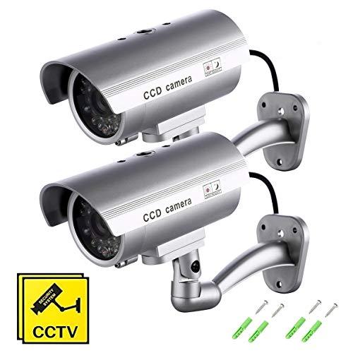SeeKool Telecamera Finta Set di 2 Videocamere di Sorveglianza Dummy Camera con LED lampeggiante IR Simulazione Telecamera Realistico finte CCTV Impermeabile d'Imitazione per interno, esterno