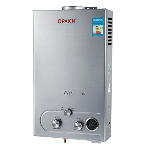 Chaneau Chauffe-eau Gaz LPG Water Heater 6L/8L/10L/12L/16L/18L Chauffe-eau Au Gaz Propane 16KW chauffe-eau Instantané Avec LED Ecran ... (18L LPG)