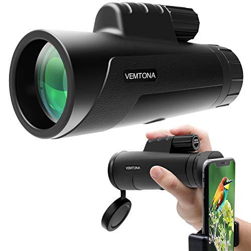 VEMTONA 10x42 Monokular Teleskop, HD Monokular Fernrohr mit Telefon-Clip, Wasserdicht Antifog Kompass Monokular Handy mit BAK-4-Prisma FMC Linse für Vogelbeobachtung/Outdoor / Reisen