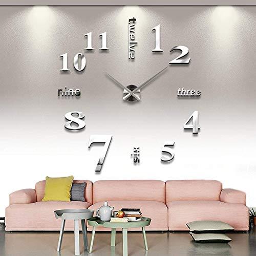 Asvert Orologio da Parete 3D Adesivi Murali per Casa Ufficio Hotel Ristorante Fai da Te Argento (Batteria Non Inclusa)