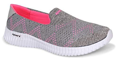 Sparx Women SL-123 Grey Pink Fabric Sports Shoes UK-7