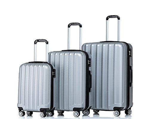 2080 TSA-Schloß Zwillingsrollen 3 tlg. Reisekofferset Koffer Kofferset Trolley Trolleys Hartschale in 12 Farben (Silber)