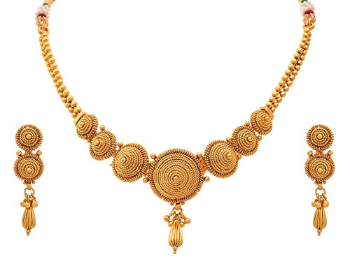 gold women elegant necklaces set plated classic ethnic traditional sets jewellery antique chic