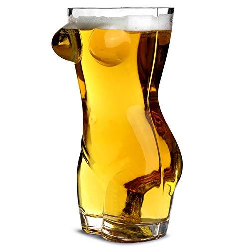 Boccale da birra a forma di corpo femminile sexy, da 1,3 l, confezione regalo con bicchiere da birra per adulti, idea regalo per gli uomini