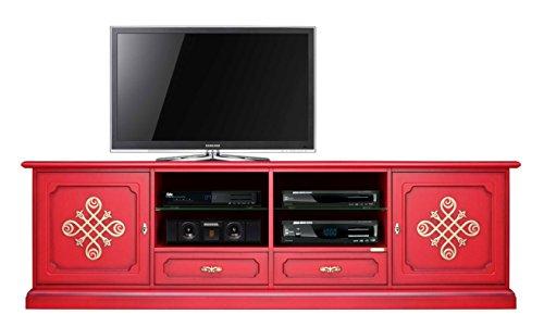 Mobile Porta TV in Legno 200 cm, Laccato Rosso con fregi Oro sulle Ante, cassetti e Ripiani, Design...
