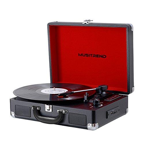 Giradischi per Vinili a 3 Velocità con due Altoparlanti Jack per Cuffie, presa RCA e Ingresso USB e...