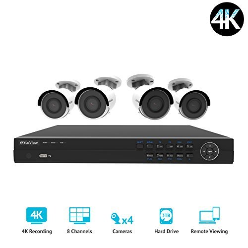 LaView 8 Channel 4K Home Security System with 4 8MP 4K Bullet Cameras, 3TB Storage - Outdoor weatherprood IP Poe Surveillance Cameras, 100ft Night Vision - LV-KNG96084G8-T3
