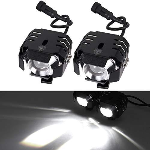 2 x 20W Motorrad Scheinwerfer mit Schalter Netzkabel Motorrad vorne Scheinwerfer LED Nebelscheinwerfer Lampe 12-80V für Fahrzeuge wie Motorräder, Fahrräder, Autos, LKW, Boot