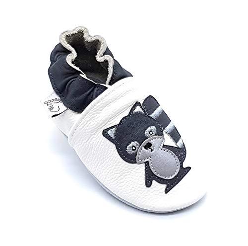 LEPEPPE - Scarpine in Pelle Prima Infanzia - Pantofole Scarpine Babucce - Neonato - Nido - Materne Danza - Primi Passi Fino al 32/33!!! Procione (4XL (19 cm di Suola))