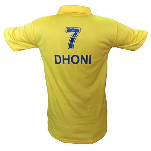 Chennai Super king IPL jersey Printed Dhoni 7 on Back side 2018(XL)