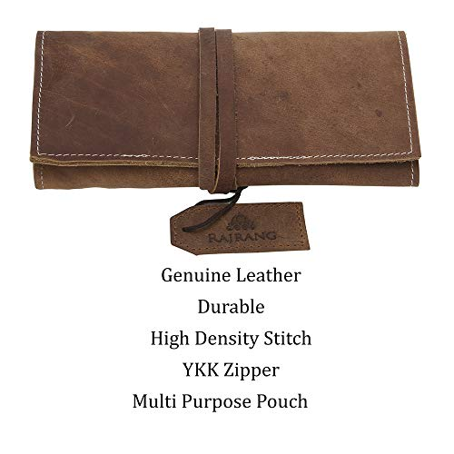 Leather pencil holder - 20X9 cm - Fresh Brown - Handmade Genuine Leather Stationery Pencil Roll...