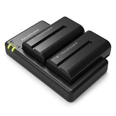 RAVPower Cargador Sony Batería NP-F550 (Versión 2019) 2 Baterías de Repuesto de 2900mAh, Cargador Bateria Compatible con Sony NP-F970 F570 NX5 F960 F530 F330 F750 F770