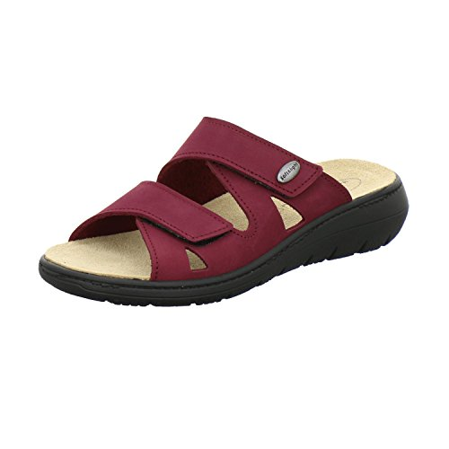 AFS-Schuhe 2808, komfortable Damen-Pantoletten aus Leder, praktische Arbeitsschuhe mit Wechselfußbett, Bequeme Hausschuhe Größe 39 EU Rot (Beere)