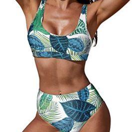 Aleumdr Bikini Donna Push Up Due Pezzi Costume da Bagno con Alta Vita Design Stampa