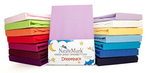 2er Sparpack Kinder Spannbettlaken Jersey 100% Baumwolle für Kinderbettmatratzen ÖKO Tex Geprüft- Gr. 70 x 140 cm, Flieder / Lavender