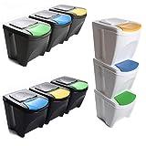 Mülleimer Abfalleimer Mülltrennsystem 60L - 3x20L Behälter Sorti Box Müllsortierer 3 Farben von rg-vertrieb (Weiß)
