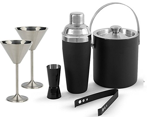 Saanvi Creations 100% Stainless Steel Black Bar Set | Bar Tools | Bar Accesories Of 6 Pieces Including 1 Cocktail Shaker | 1 Peg Measure | 1 Ice Bucket | 1 Tong And 2 Martini Glasses