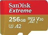 SanDisk Extreme Scheda di Memoria microSDXC da 256 GB e Adattatore SD con App Performance A2 e Rescue Pro Deluxe, fino a 160 MB/sec, Classe 10, UHS-I, U3, V30