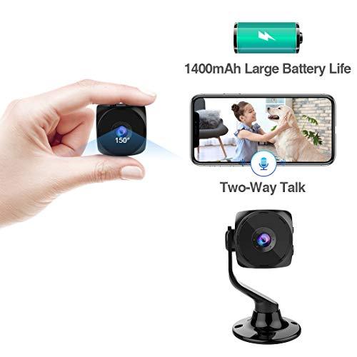Mini Telecamera Spia Wi-Fi Interno KEAN Videocamera di Sorveglianza Nascosta Microcamera 1080PHD IP Rilevamento di Movimento Portatile Esterno Visione Notturna Conversazione Bidirezionale Spy Cam
