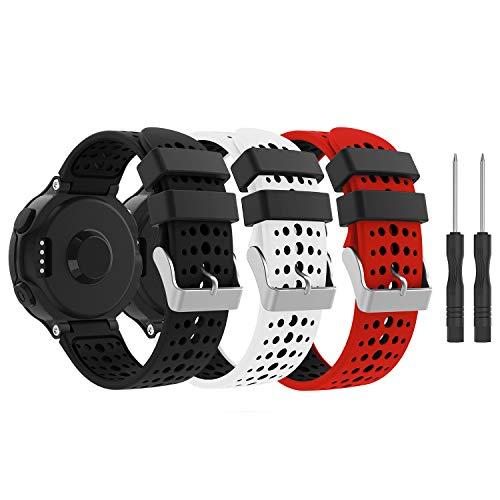 Yayuu Garmin Forerunner 235 Cinturino,Ricambio Sportivo Cinturino Morbido Silicone Cinturino da Polso Fascia per Forerunner 235/220/230/620/630/735XT Smart Watch (A2, 3 Pacco)